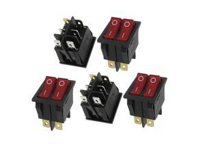 5 Pcs x Red Light Illuminated Double SPST ON/OFF Snap IN Boat Rocker Switch 6 Pin