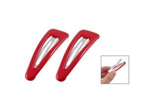 """2 Pcs 2.8"""" Length Red Plastic Metal Snap Hair Clip for Women"""