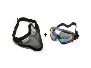 2 in 1 Metal Mesh + Protection Goggles Airsoft