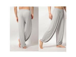 yoga pants Loose Modal bloomers tai chi men women-Light Grey,3XL