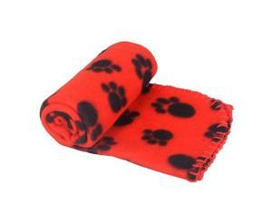 Cute Pet Dog Cat Blanket Paw Prints Soft Fleece Mat Bed Cover
