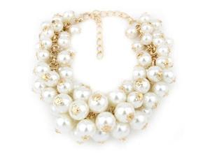 Women Multi-Layer Pearl Pendant Bead Charms Gold Bangle Bracelet