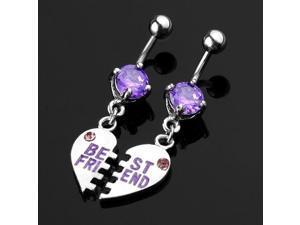 Pair Purple Crystal Belly Navel Bar Ring Body Piercing