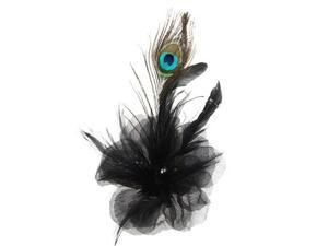 Black Flower Peacock Feather Organza Corsage Hair Clip Fascinator