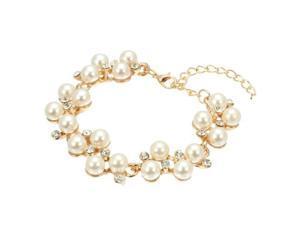 Women Bracelet Bangle Gold Alloy Faux Pearl Elegant 160x18mm