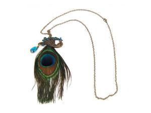 Fashion Bronze Peacock Feather Long ChaIn Retro Necklace