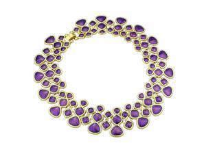 Fashion Designer Jewelry Colorful Enamel Bubble Bib Choker Necklace purple