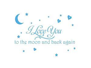LOVE Quotes Wall Decor Wall Art I LOVE YOU To The Moon And Back Wall Sayings Quotes Easy Apply Wall Sticker Wall Art for Children Bedroom Baby Nursery Home Decor-blue
