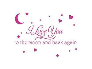 LOVE Quotes Wall Decor Wall Art I LOVE YOU To The Moon And Back Wall Sayings Quotes Easy Apply Wall Sticker Wall Art for Children Bedroom Baby Nursery Home Decor-pink