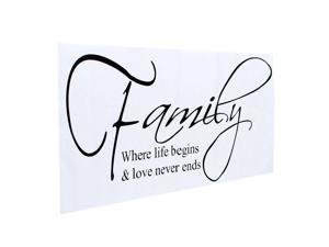 "DIY Family Sticker""Where Life Begins & Love Never Ends""Removable Vinyl Wall Stickers Decor Home Living Room Bedroom Office Wall Stickers Decoration"