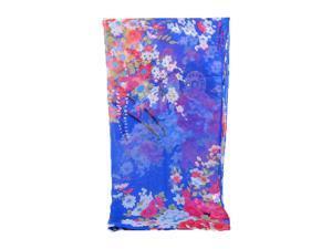 Royal Blue Charming Floral Pattern Printed Chiffon Anti-UV Scarf For Women
