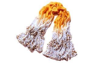 Women Fashion Leopard Pattern Colorful Shawl Scarf Wrap (Yellow)