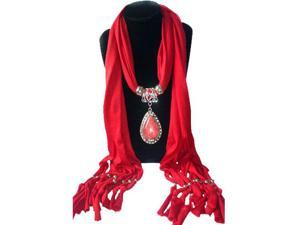 Stylish Alloy Resin Pendant Embellished Solid Color Scarf For Women red