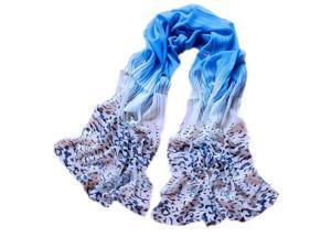 Women Fashion Leopard Pattern Colorful Shawl Scarf Wrap (Blue)