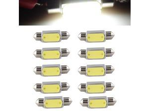 10pcs 36mm 3W COB LED Bulb Light Festoon Dome 6000K DC12V white Car