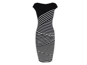 New Summer Dress Women Clothes Fashion Black White Stripe Package Hip Knee-length Sleeveless Dresses Female Casual Dress M