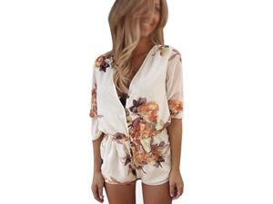 Women's white lace chiffon cotton flower print v-neck sexy wedding summer jumpsuit with button S