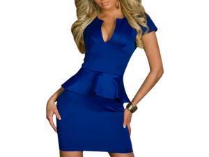 Women Lady Sexy Fashion U-neck OL Peplum Dress Party Bodycon Dresses Blue S