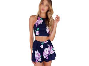New fashion women's purple floral print sexy backless casual two pieces sleeveless o-neck mini suit S