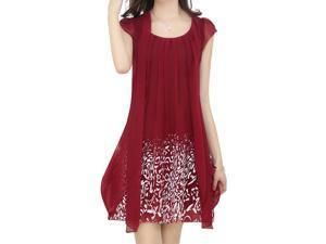 tropical print dress women Dress casual rodado chiffon dresses fashion Summer new women's clothing pretty Clothes Vestido Red wine 2XL