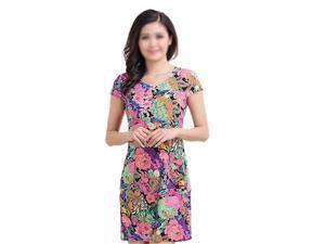 New Fashion Women Summer dress Slim Tunic Milk Silk print Floral dresses Casual Plus Size sexy bodycon dress vestidos-08# L