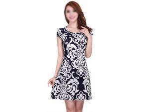 New Fashion Women Summer dress Slim Tunic Milk Silk print Floral dresses Casual Plus Size sexy bodycon dress vestidos-Black & white flowers 4XL