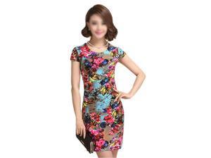 New Fashion Women Summer dress Slim Tunic Milk Silk print Floral dresses Casual Plus Size sexy bodycon dress vestidos-17# 4XL