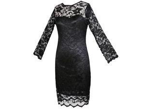 New women clothing Bodycon peplum flower lace dress slash o-neck sexy evening mini dress black S