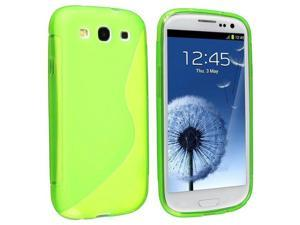 TPU Rubber Case Compatible with Samsung?Galaxy S III/ S3 i9300, Clear Green S Shape