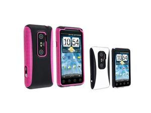 2pc Pink Black White TPU Rubber Candy Skin Hard Hybrid Phone Case For HTC EVO 3D