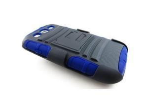 BLUE EXTREME RUGGED IMPACT ARMOR HYBRID HARD Case Cover BELT CLIP HOLSTER For Samsung GALAXY S III 3 S3