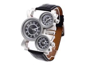 THZY Men's Military Wristwatch Quartz movement Black Leather Strap