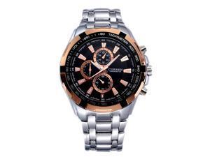 CURREN Men's Stainless Steel Wrist Watch (Silver Strap&Black Dial&Gold pointer)