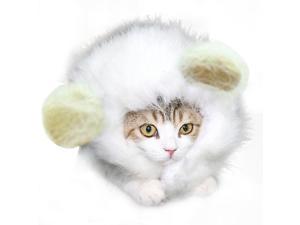 Pet Cat Dog Emulation Lion Hair Mane Ears Head Cap Autumn Winter Dress Up Headgear white-L