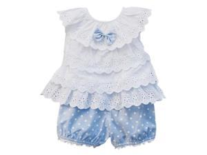 Baby Toddler Girl Ruffled T-shirt Top+Dots Shorts Suits 2pcs Outfit Clothes -Blue,70