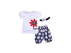 Newborn Girl Outfits Infant Clothing Baby Girl Clothes Sleeve Romper+Headband+Pants 80CM