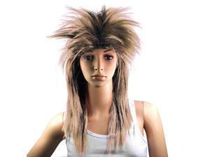 THZY 80s Ladies Punk Rocker Chick Tina Turner Wig - Brown Black