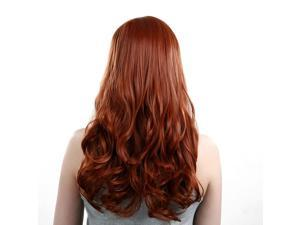 Heat Resistant Inclined Bang Big Wavy Auburn Red Cosplay Full Wig
