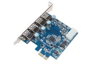 PCI Express to SuperSpeed USB 3.0 4 Port Card Adapter for Desktops with 5V 4 Pin Power Connector