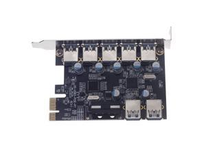 7 Port Superspeed USB 3.0 2 Internal PCI-e PCI Express Host Controller Expansion Card Adapter with 5V 4 Pin Power Connector for Desktops