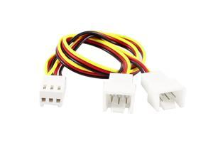 3 Pins to 2 x 3 Pins PC Fan Connector Adapter Cable Cord Y Splitter