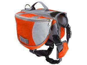 Pet Backpack Dog Saddlebags Medium and Large Dogs Harness Bag Ideal for Outdoor Hiking Camping Training-L orange