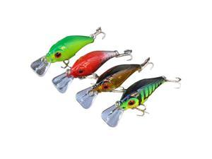 4Pcs 77mm/10g Crank Fishing Lure Hard Bait with Hooks Metal Ball Tackle