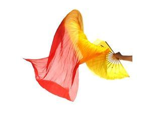 New 1.8m Hand Made Colorful Belly Dance Dancing Silk Bamboo Long Fans Veils