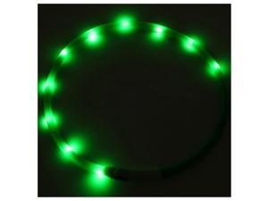 Waterproof Rechargeable USB LED Flashing Light Band Belt Safety Pet Dog Collar green