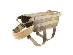Tactical Police Dog Training Molle Vest Harness Brown M