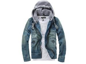 Autumn Winter Men Clothing Hooded Denim Jacket Outdoors Casual Jeans Coats Outerwear-Blue-XXL