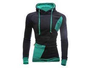 Fashion New Contract Color Hoodies Sweatshirts Men Casual Slim Outerwear Coat Black and Green L