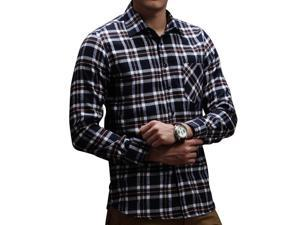 E-bing New Mens Shirts Casual Slim Fit Stylish Mens Dress Shirts Men Fashion Shirts Men's Long Sleeve Lattice Shirt Dark Blue XL