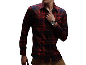E-bing New Mens Shirts Casual Slim Fit Stylish Mens Dress Shirts Men Fashion Shirts Men's Long Sleeve Small Lattice Shirt Red Blue XL